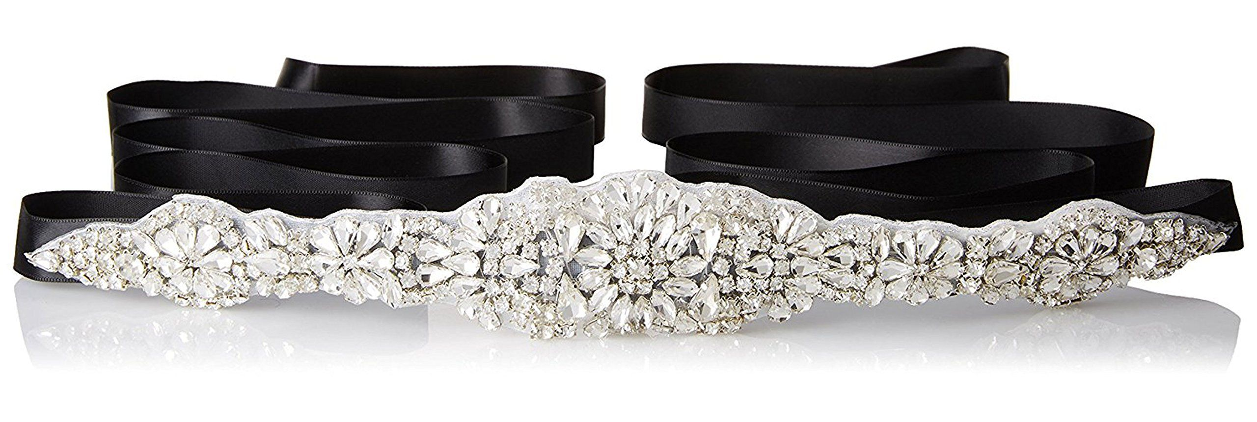 E Clover Bridal Crystal Rhinestone Wedding Dress Sash Belt With