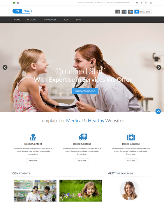 This medical Joomla theme features Virtuemart and EasyBlog