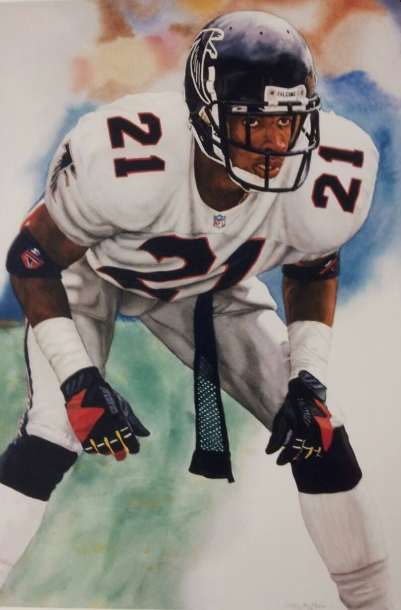 Deion Sanders Watercolor By Doug Meythaler Studio Nfl Football Art Football Football Pictures