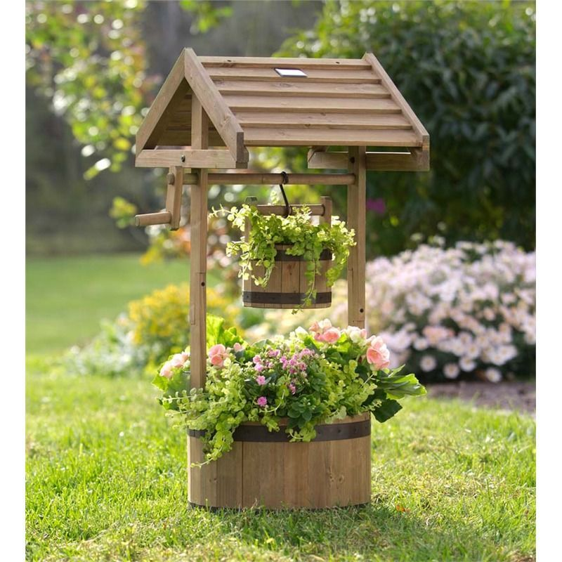 Wishing Well Wooden Planter With Solar Light Decorative Containers Wishing Well Garden Wooden Planters Wood Planters