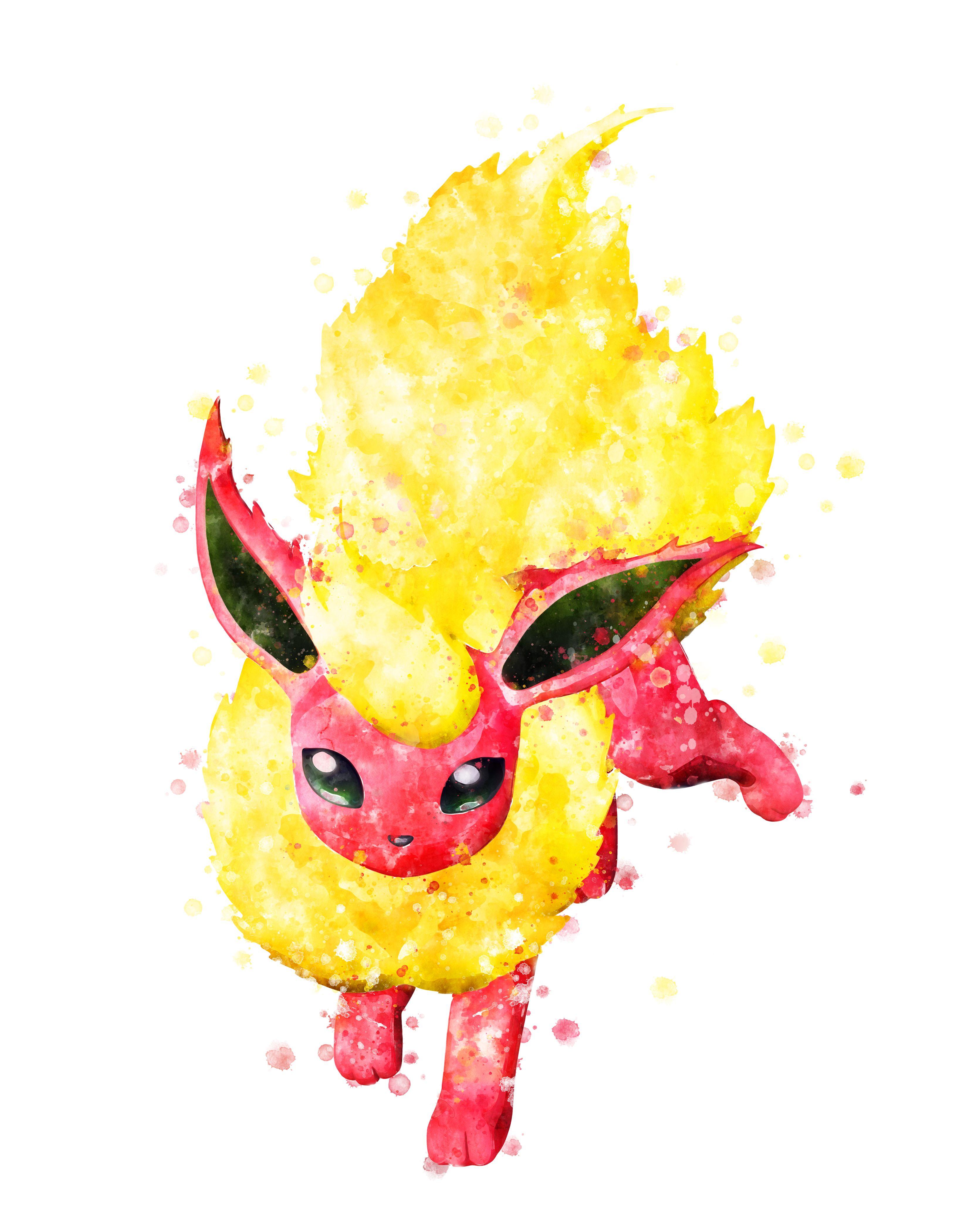 Flareon Art Prints Pokemon Flareon Poster Pokemon Flareon Cute Pokemon Wallpaper Pokemon Painting
