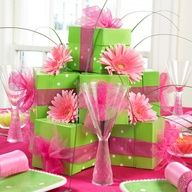 Gift Box Centerpieces Gift Boxes Hat Boxes Decorative Tins Sweet Sixteen Centerpieces Lime Green Weddings Sweet Sixteen Parties