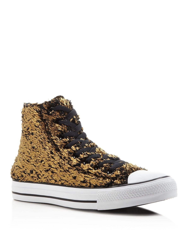 50baa047bd4eb5 Converse All Star Sparkle Faux Fur High Top Sneakers