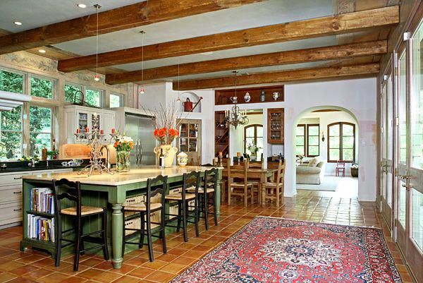 Spanish style kitchen -- I love the light and openness