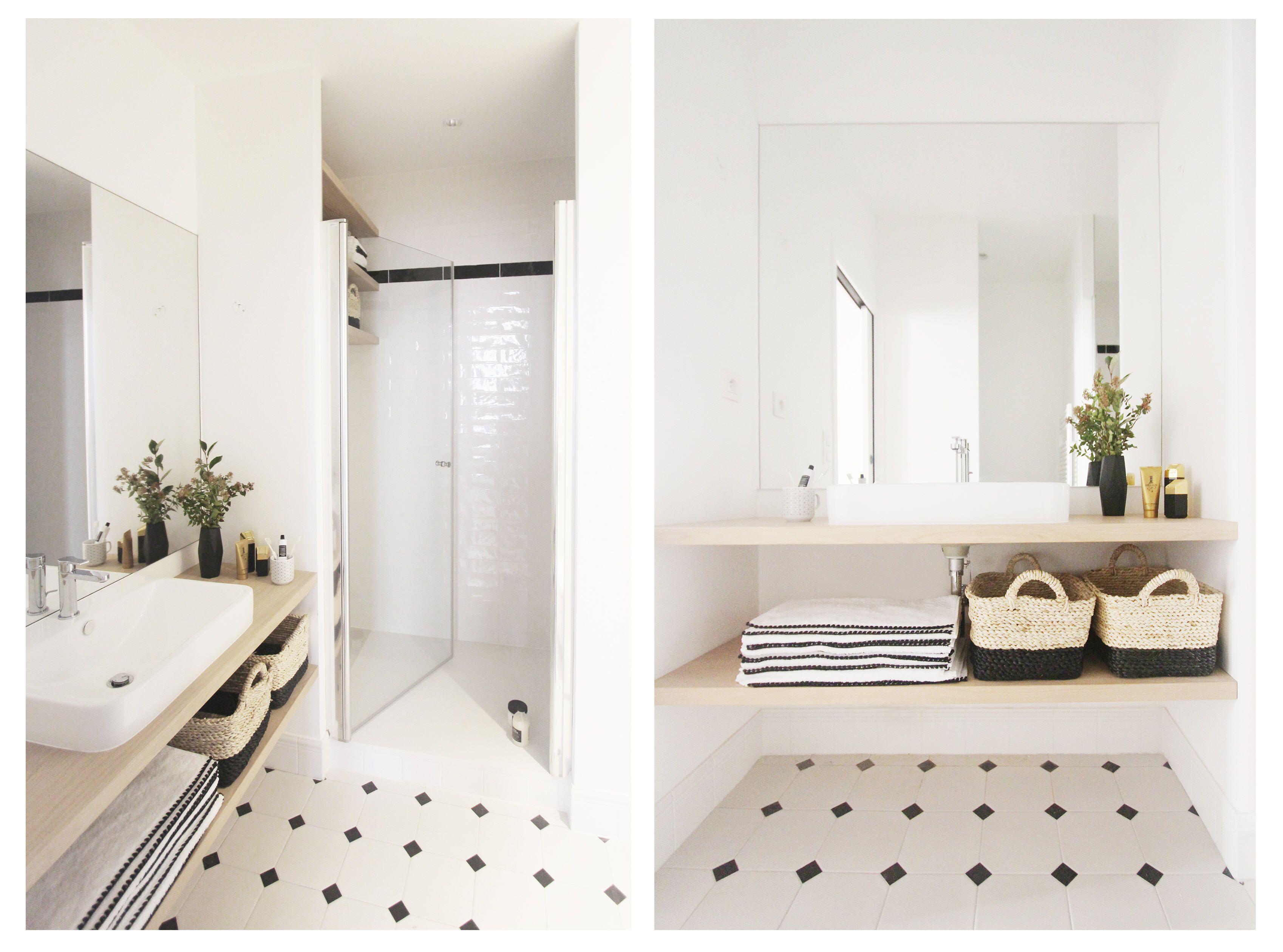 amazing douche en niche plan de toilette en bois avec. Black Bedroom Furniture Sets. Home Design Ideas