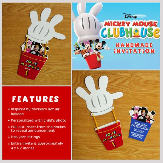 Mickey Mouse Clubhouse Handmade Printed Invitations Birthday – Handmade Mickey Mouse Birthday Invitations