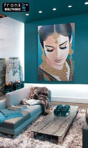 Moderne inrichting woonkamer, interieur decoratie. Prachtig schilderij van Frank Wagtmans! Kunst is de 'finishing touch' voor ieder interieur. De warme turquoise kleur past in vrijwel elk interieur en laat zich uitstekend combineren.