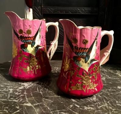 Old Pitcher With Painted Bird and Gold Accents  $59 to $79 Each   Rick's Antiques and Home Decor, Dealer #36  Lost. . .Antiques 1201 N. Riverfront Blvd. Dallas, TX 75207  Dallas antique deal