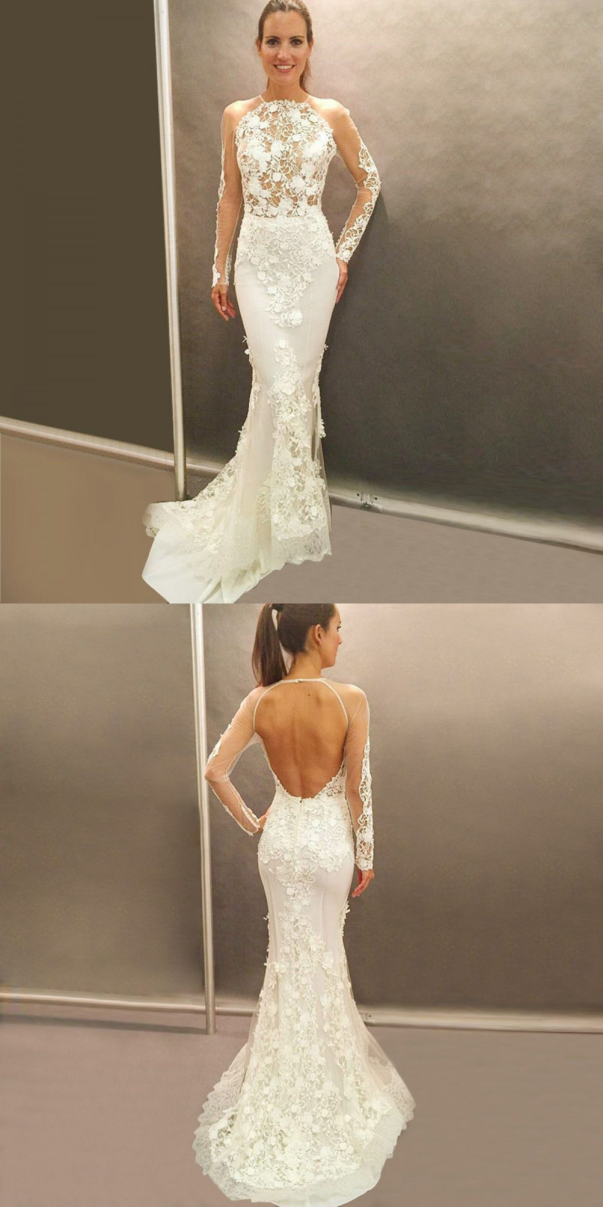 2019 Chic Round Neck Backless Long Sleeve White Lace Mermaid Wedding Dresses Mermaid Wedding Dress With Sleeves Wedding Dress Train Best Wedding Dresses [ 2400 x 1200 Pixel ]