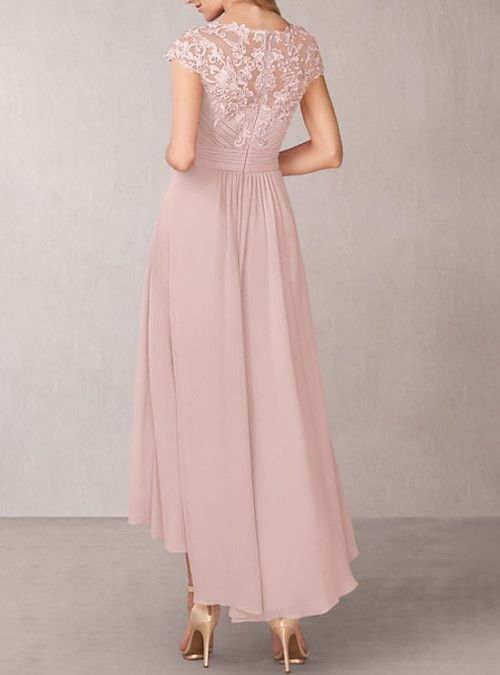 A-Line Mother of the Bride Dress Elegant Jewel Neck Asymmetrical Chiffon Lace Short Sleeve with Pleats Appliques 2020 2020 - NZ $234.14