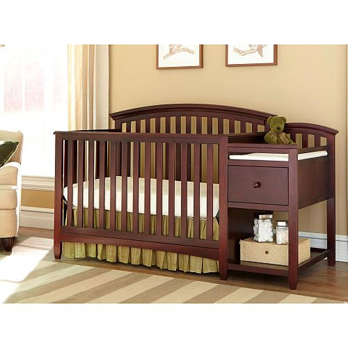 Westwood Design Montville 4 In 1 Crib And Changer Combo With Pad Chocolate Mist Crib And Changing Table Combo Crib With Changing Table Baby Cribs