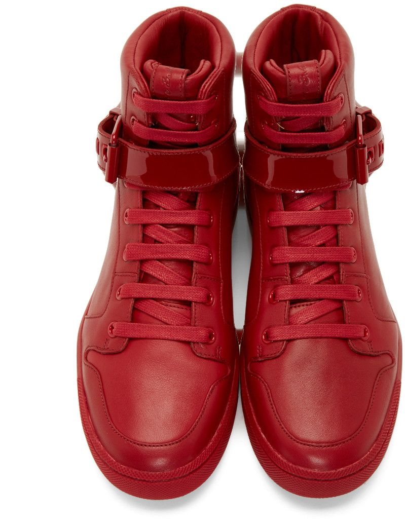 Pierre Balmain - Red Leather High-Top