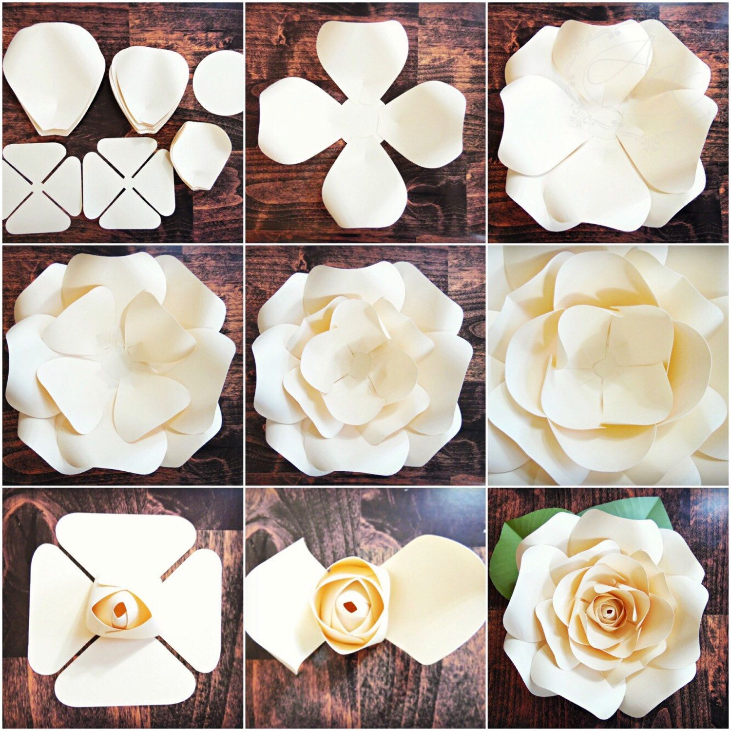 Diy giant rose templates paper rose patterns tutorials paper rose flower wall svg cut files for Paper roses template