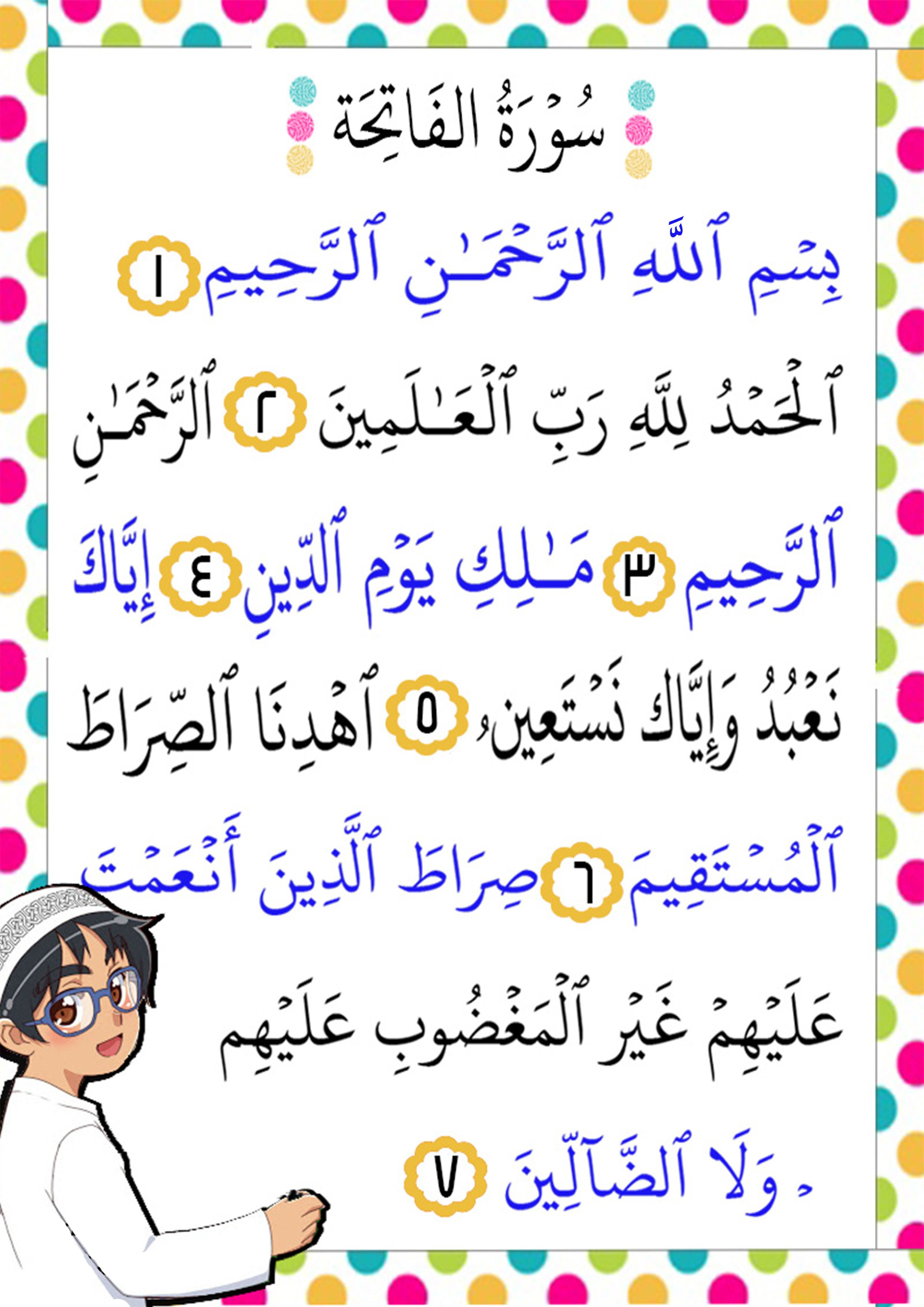 Sourate 1 Al Fatiha - Prologue ou L'Ouverture (Français-Arabe)