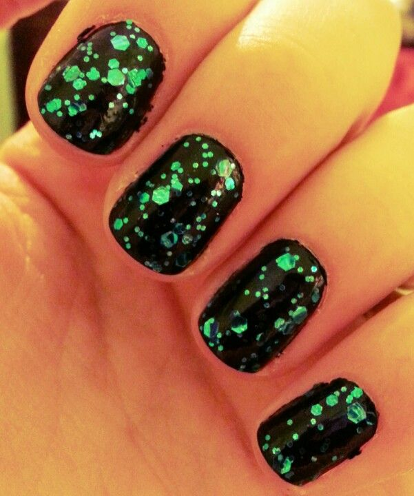 Black with blue glitter.
