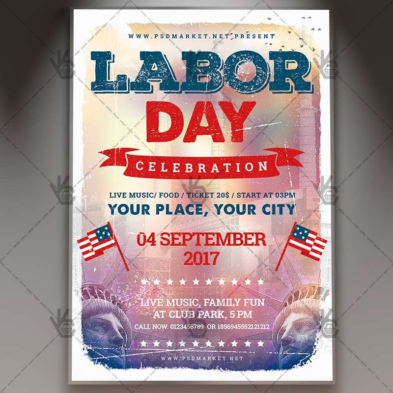 Labor Day Celebration - Premium Flyer PSD Template #america - baseball flyer