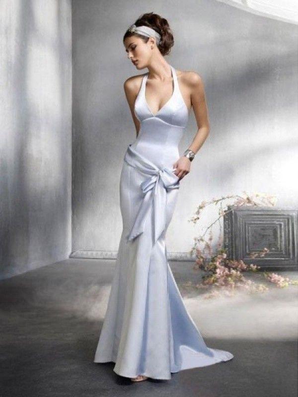 ede6aeeb5897 Trumpet   Mermaid Halter Bowknot Sleeveless Floor-length Elastic Woven Satin  Bridesmaid Dresses   Prom Dresses   Evening Dresses