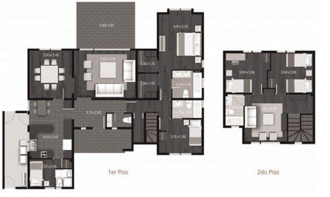 Plano de casa moderna de 2 pisos y 5 dormitorios planos for Casa moderna 5 mirote y blancana