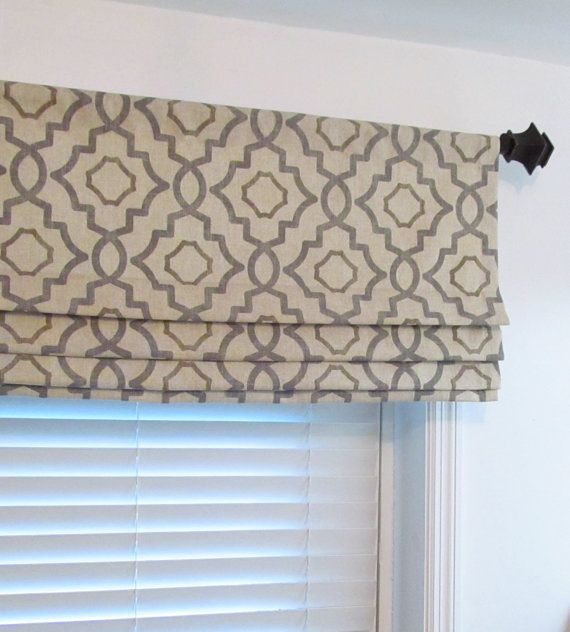 faux roman shade lined mock valance gray beige geometric fake
