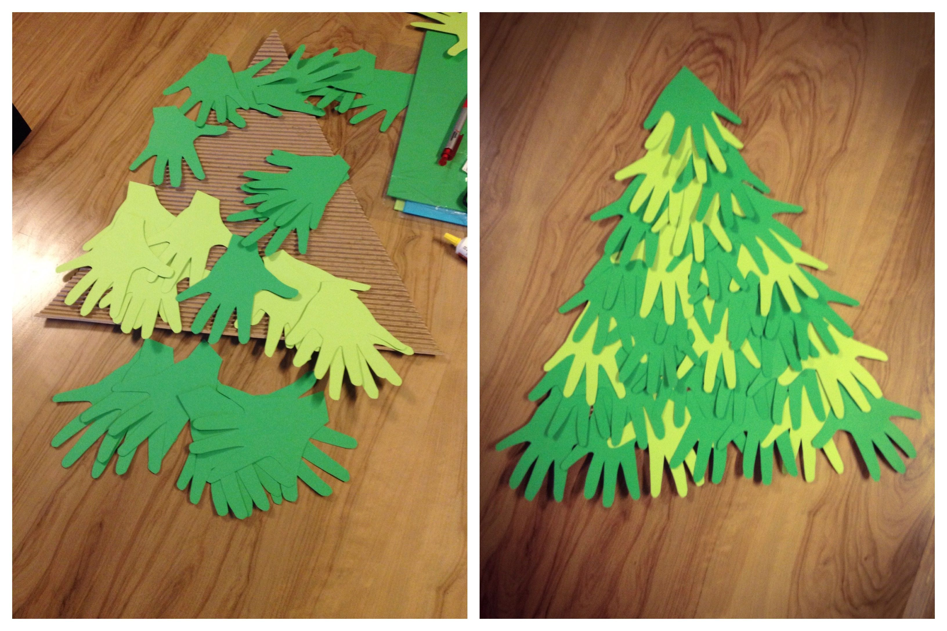 Green color paper; hand prints, glued to cardboard, Christmas tree ...