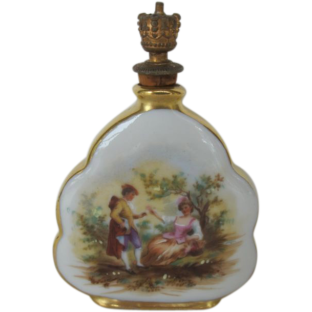 Vintage Porcelain Perfume Bottle Crown Top - Germany from dinasantiques on Ruby Lane