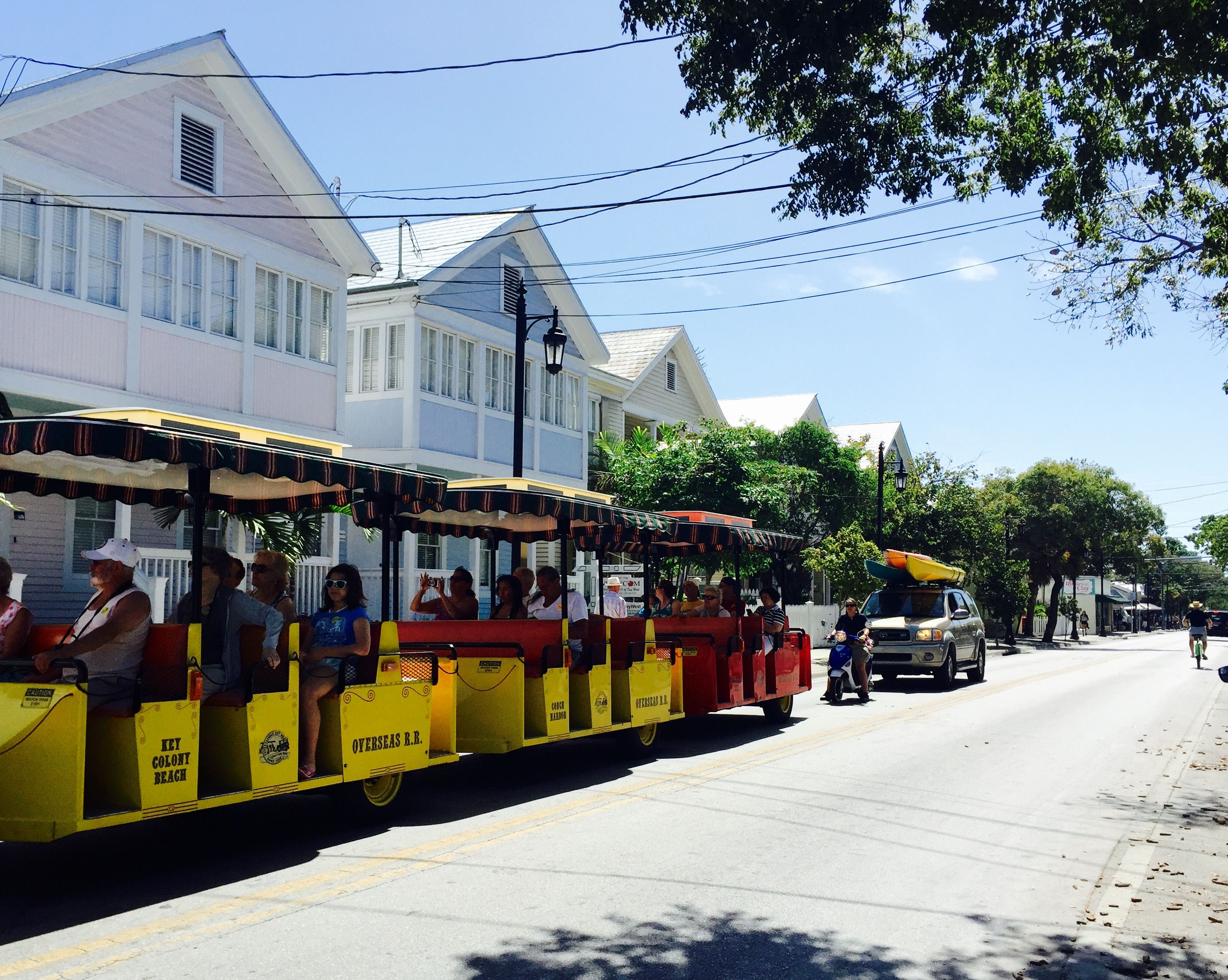 Keywest Conch Train Riding By Mile Marker 0 On Whitehead St