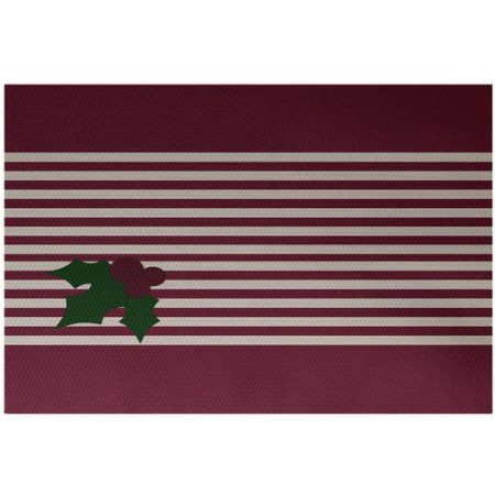 Simply Daisy 2' x 3' Holly Stripe Decorative Holiday Stripe Print Indoor Rug, Red