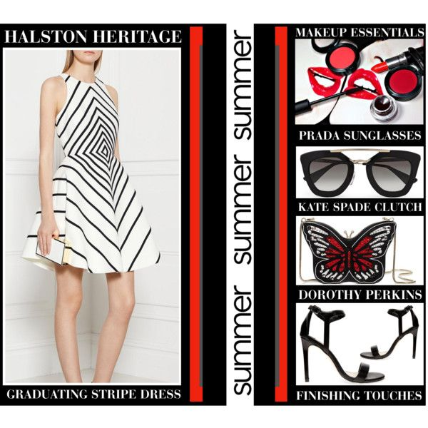 All A Flutter by latoyacl on Polyvore featuring Halston Heritage, Kate Spade and Prada