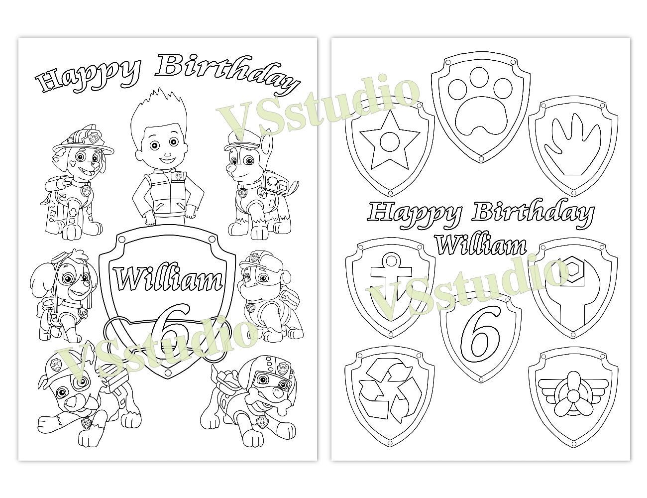 PAW Patrol Birthday Party Favor, PAW Patrol coloring pages