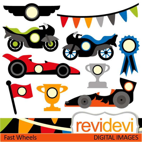 Race cars and race motors cliparts. These are fast wheels! These digital images are great for any craft and creative projects.