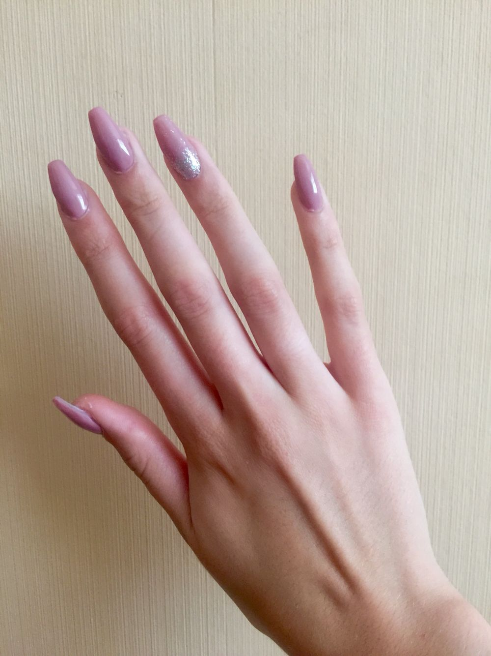 Nude/pink gel on top of acrylic nails in coffin/ballerina ...