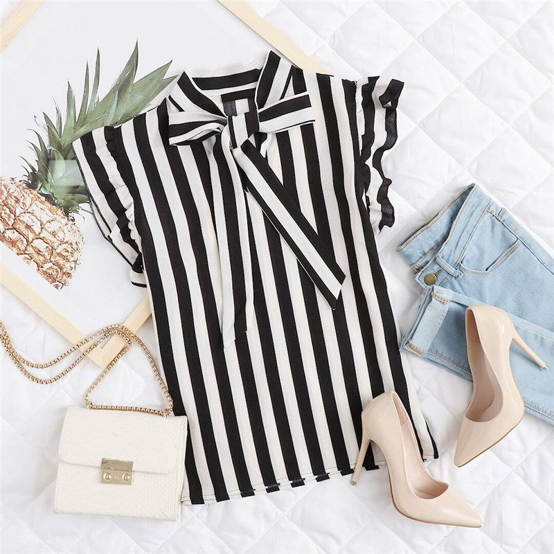 19771bf1a73feb Summer Top Elegant Work Women Blouses Cap Sleeve Black and White Tie Neck  Butterfly Workwear Striped Blouse