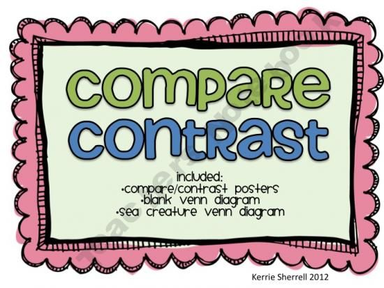 Compare And Contrast Posters And Venn Diagram I Teach English