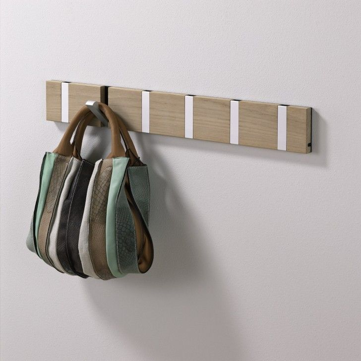Remarkable Retractable Coat Hook To Organize Your Closet: Superb Retractable Coat Hook Using Treated Wood Board Design And White Hooks Mount. & Remarkable Retractable Coat Hook To Organize Your Closet: Superb ...