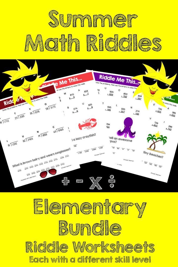 Summer Math Riddles Elementary Bundle Summer math