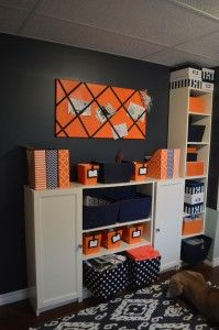 Navy And Orange Home Office