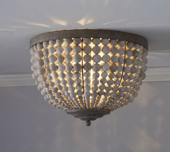 Rustic French Country Beaded Ceiling Light Convertible Semi