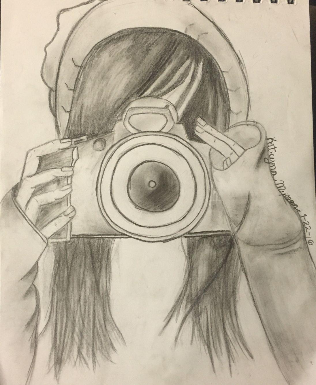 Girl holding camera 💛 ️ Camera art, Art inspiration