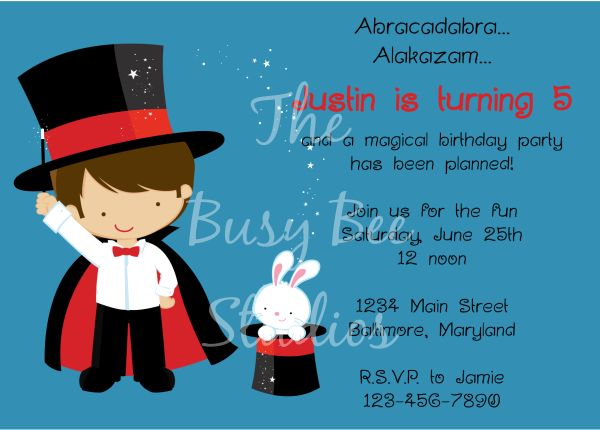 Cute Magician Birthday Party Invitations
