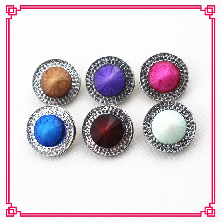 2016 New arrive 30pcs/lot 18mm glass mix 6 color natural stone snap buttons for snap bracelet jewelry
