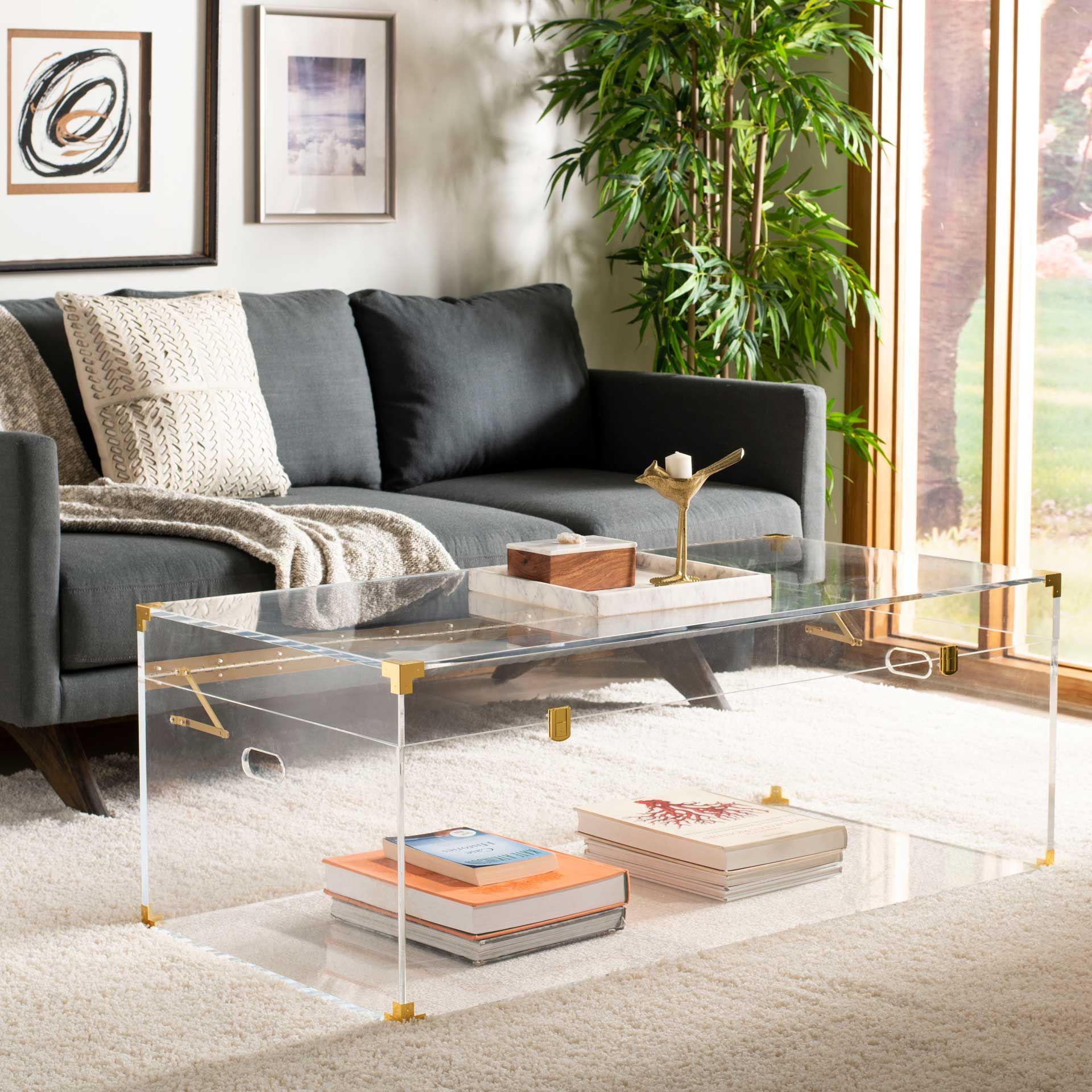 Isabel Acrylic Trunk Coffee Table Clear Brass In 2021 Acrylic Coffee Table Coffee Table Coffee Table Trunk [ 1920 x 1920 Pixel ]
