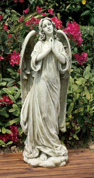 Praying angel garden statue 36 made of a resin stone mix measures 36 h x 13 w x 12 d weighs - Angel statue for garden ...