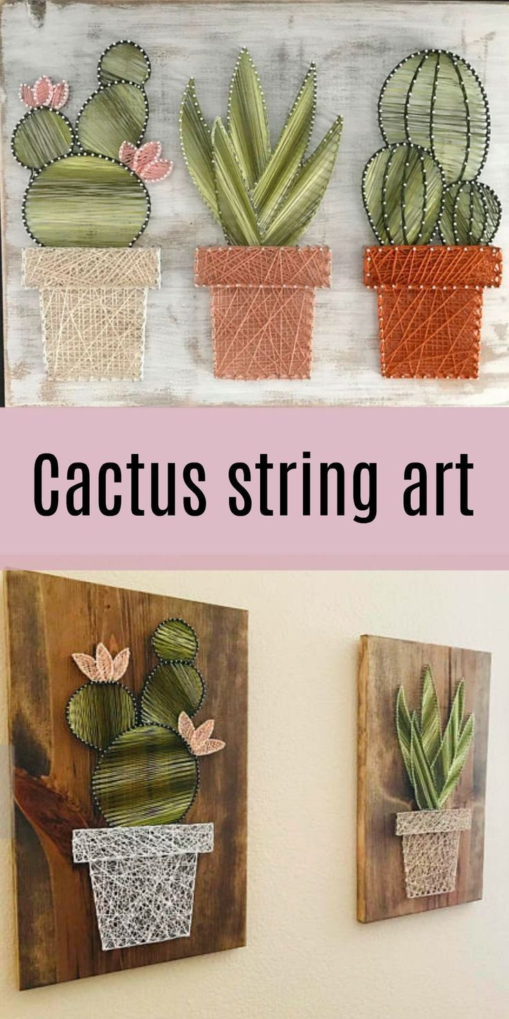 Obsessed with this cactus string art!! So Pretty!!... - #ados #Art #Cactus #Obsessed #Pretty #String