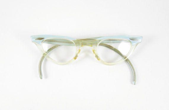 f06f7876c71 Cat Eye Glasses Frames Vintage Eyewear Mid Century Blue and Clear ...