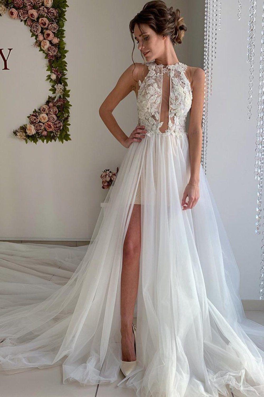 A Line Appliques Ivory Open Back Wedding Dresses, Vestidos de novia de Long Beach US$ 239.00 VTOP2PKLXCG - VestidoBello.com