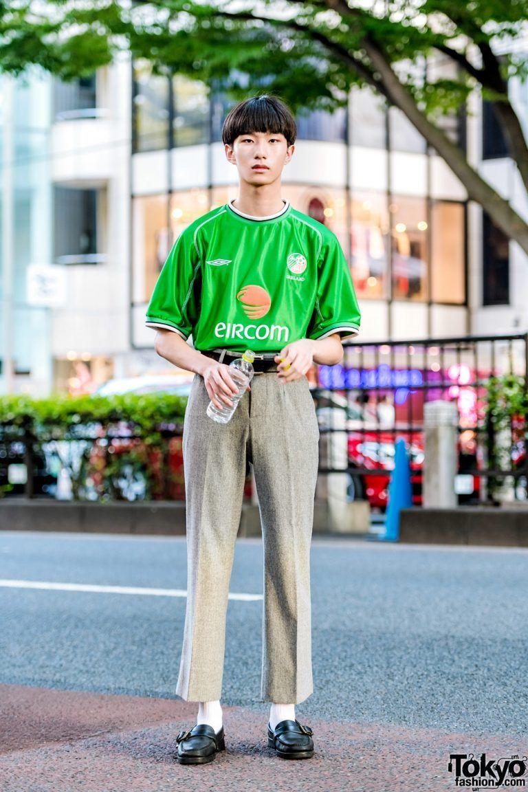 Tokyo Streetwear Style W Umbro Soccer Jersey Balenciaga Cropped Pants Ralph Lauren Loafers Comme Des Garcons Belt Jersey Fashion Football Fashion Fashion