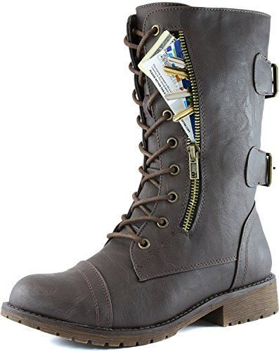 Women's Military Up Buckle Combat Boots Mid Knee High Exclusive Credit Card Money Pocket Pouch, 6.5