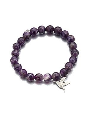 Sydney Evan 10mm Amethyst Beaded Bracelet with Diamond Wing Charm PqMYH