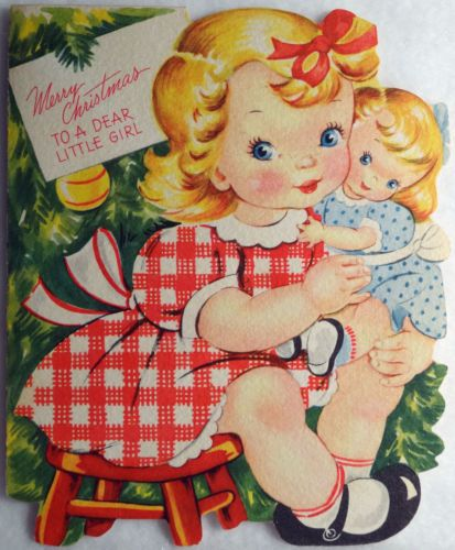 #68 50s Sweet Little Girl & Her Doll-Vintage Diecut Christmas Greeting Card