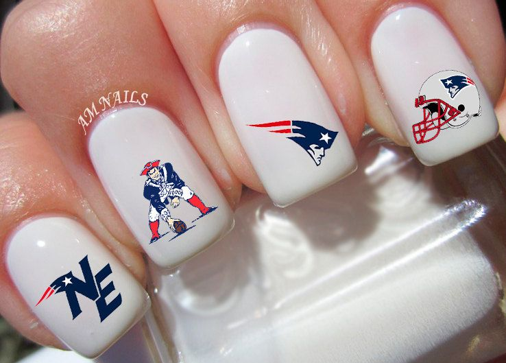 New England Patriots nail decals, very pretty, bright stickers with ...